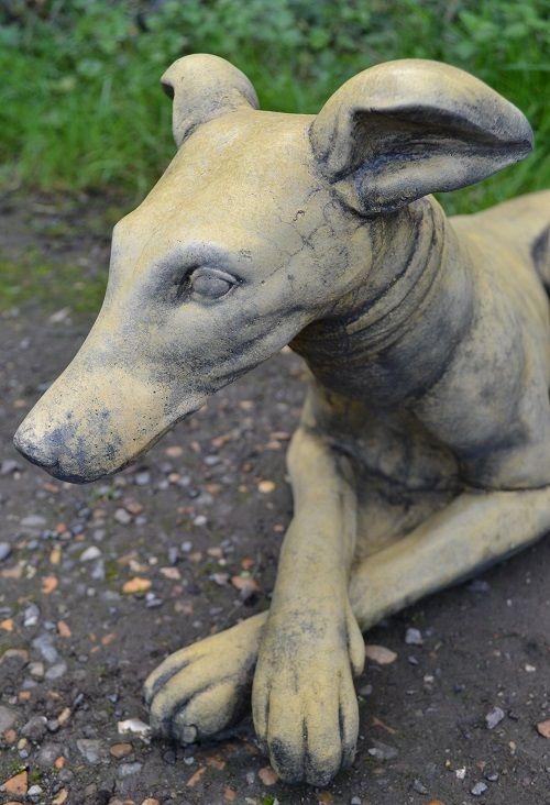 Whippet lying down dog statue - 'Belle'